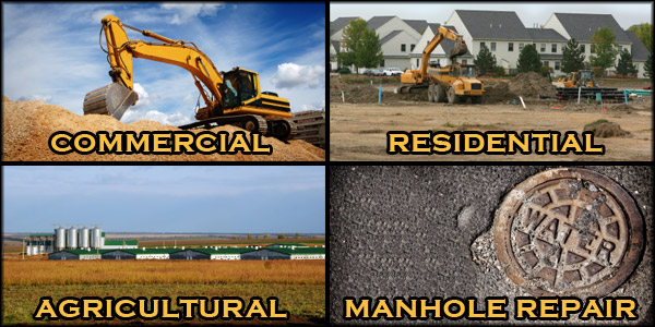 Commercial Excavating, Residential Excavating, Agricultural Excavating & Manhole Repair